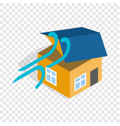 Hurricane destroyed house isometric icon vector
