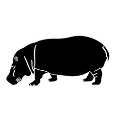 isolated hippo silhouette vector image vector image