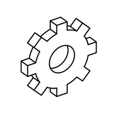 Line gear industry technology information icon vector