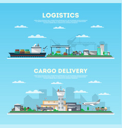 logistics and cargo delivery banner set vector image