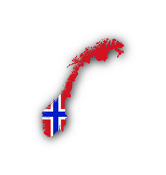 Map and flag of norway vector