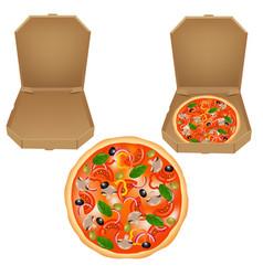 pizza box set vector image vector image