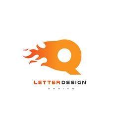 q letter flame logo design fire logo lettering vector image vector image