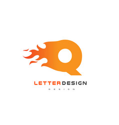 Q letter flame logo design fire logo lettering vector