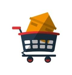 Real estate house shop cart shadow vector