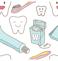 Seamless of teeth care vector image