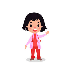 smiling brunette girl doctor in professional vector image vector image