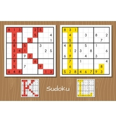 Sudoku set with answers k l letters vector