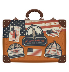 suitcase with american symbols and monuments vector image vector image
