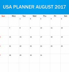 Usa planner blank for august 2017 scheduler agenda vector