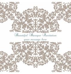 Vintage Baroque ornament card vector image vector image