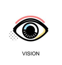vision icon with eye symbol on white background vector image vector image