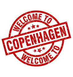 Welcome to copenhagen red stamp vector