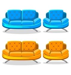 Cartoon colorful armchair and sofa set 10 vector