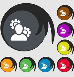 Profile setting icon sign symbols on eight colored vector