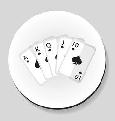 Playing cards pocker royal flash combination vector