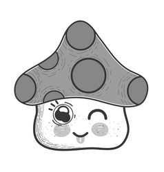Grayscale kawaii funny fangus with tongue outside vector