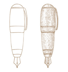 fountain pen hand drawn sketch vector image