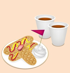 Hot coffee in disposable cup with hot dog waffles vector