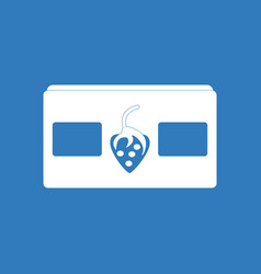 icon on background videocassette and strawberry vector image
