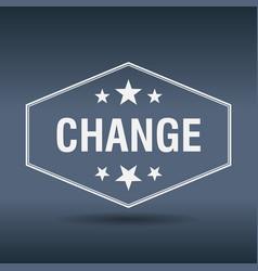 Change hexagonal white vintage retro style label vector