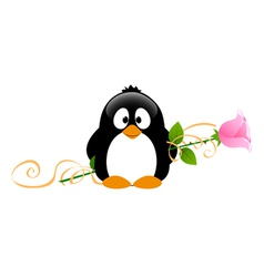 Penguin with rose vector image