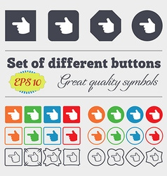 Pointing hand icon sign big set of colorful vector