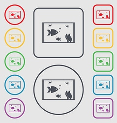 Aquarium fish in water icon sign symbols on the vector