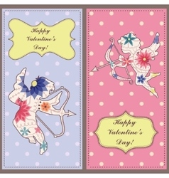 Background with cupid vintage set vector