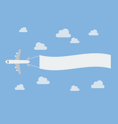 Plane flying a blank banner vector