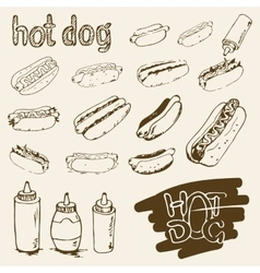 Hot dog hand drawn set vector