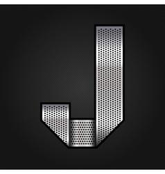 Letter metal chrome ribbon - J vector image
