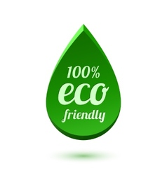 Abstract green drop eco friendly icon vector