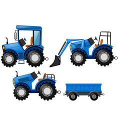 Blue tracktor and bulldozer vector
