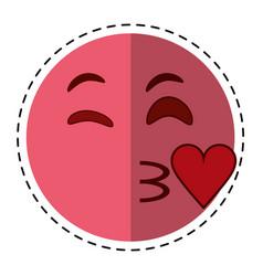 Cartoon kiss love emoticon funny vector