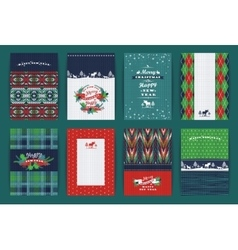 Christmas and new year set plaid knitted vector