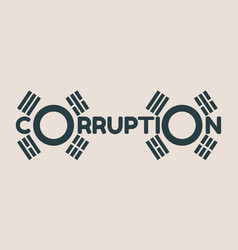 corruption word and korean flag elements vector image