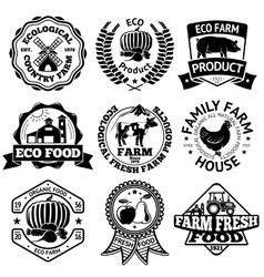 Farm food labels set with mill vegetables vector image