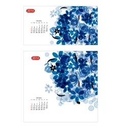 Floral calendar 2014 january vector