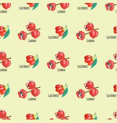 Goji berries guarana seamless pattern background vector