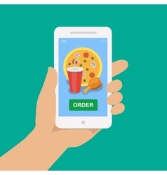Hand holding smartphone with pizza cola chicken vector
