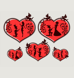 Heart with silhouettes of a boy and a girl set vector
