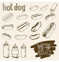 Hot dog hand drawn set vector