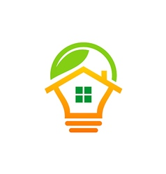 house idea green leaf logo vector image vector image