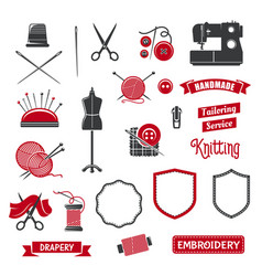 icons of dressmaker sewing knitting salon vector image