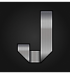 Letter metal chrome ribbon - j vector