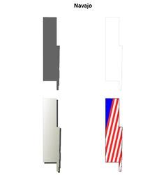 Navajo county arizona outline map set vector