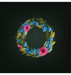 O letter flower alphabet colorful font vector
