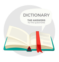 Open dictionary book with all answers to questions vector
