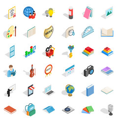 Paper icons set isometric style vector